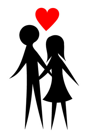 Happy young couple lovers silhouettes Stock Vector - 8255368