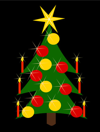 Decorated Christmas tree with candles and glass balls Vector