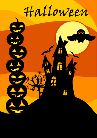 Halloween card with castle, jack o lanterns stack and owl over moon