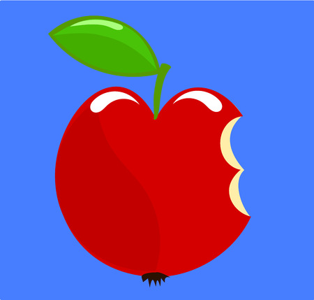 Symbolic biten apple over blue sky - paradise exile Vector