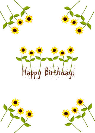 Beautiful bithday card with yellow sunflowers Stock Vector - 8329533