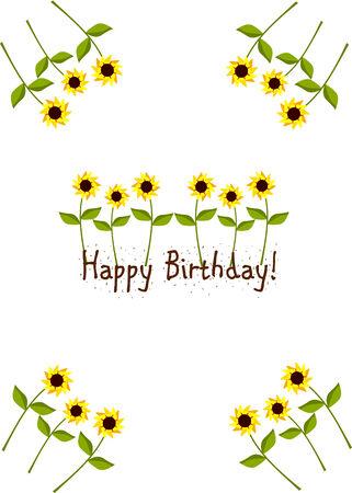 Beautiful bithday card with yellow sunflowers Stock Vector - 8329533