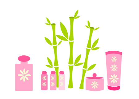 lucky bamboo: Spa cosmetics in pink package and lucky bamboo plant Illustration