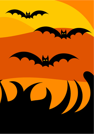 scary night: Halloween scary night landscape background  with flying bats