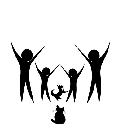 black family: Happy family, cat and dog - black silhouette Illustration