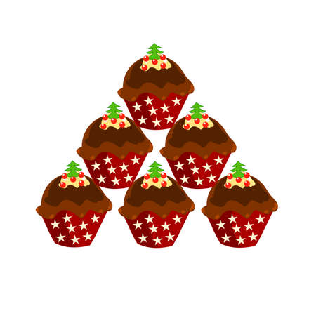 Stack of Christmas chocolate cupcakes   illustration Stock Vector - 8329530
