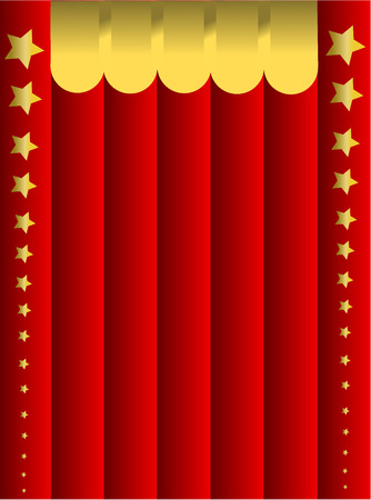 christmas movies: Red curtain background with golden stars. Christmas illustration