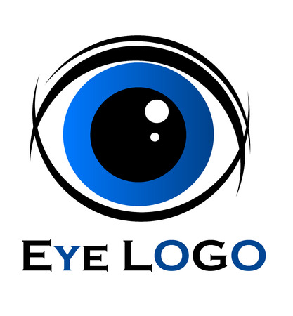 abstract eye: Symbol of blue eye. illustration Illustration