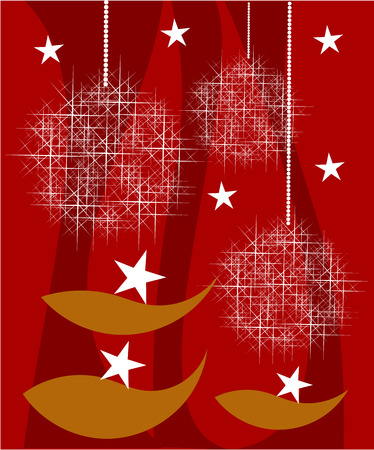 Red Christmas card with golden fish and snowy balls Vector