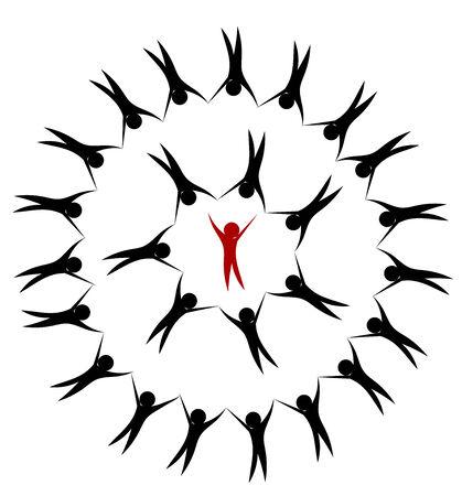 teamleider: Mensen team hand in hand in cirkel. Teamleider binnen Stock Illustratie