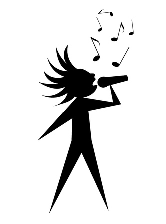Singer - black symbolic  silhouette Vector