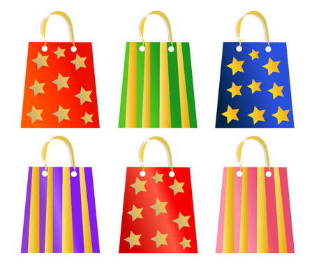 Set of ornamented Christmas present bags Vector