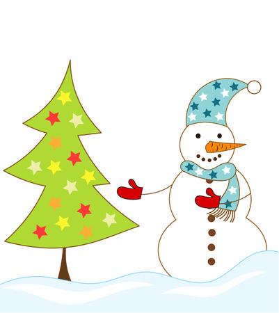 Snowman and Christmas tree illustration Stock Vector - 8329549