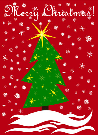 crooked: Christmas card design with crooked Christmas tree and greetings Merry Christmas!
