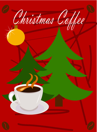 Christmas scene - coffee and Christmas trees over red background. Card design Vector