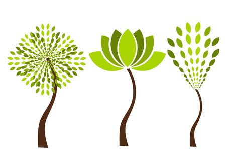 Tres árboles originales Vectores