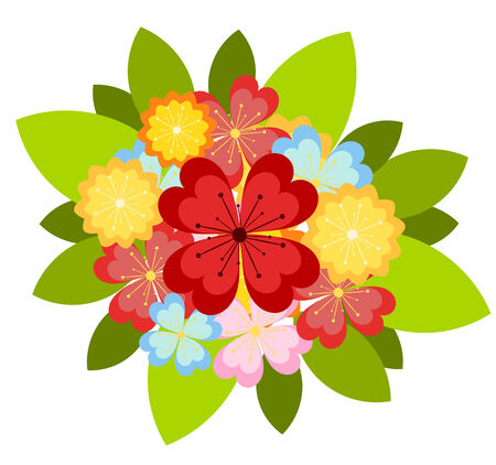 Bunch of colorful various flowers.  illustration