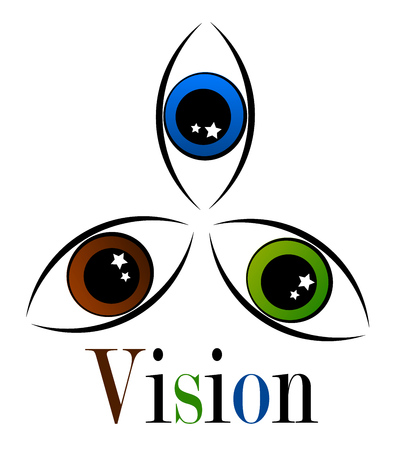 Three eyes in various colors - visiual symbolic emblem Illustration