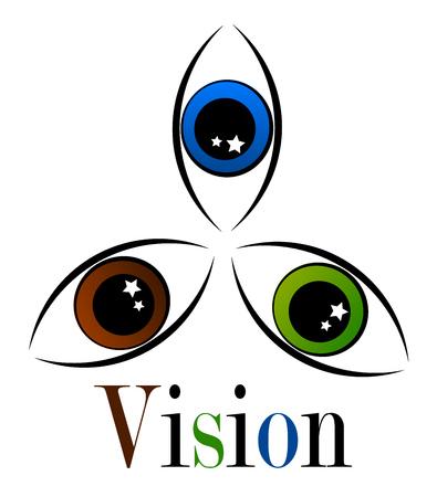 olhos castanhos: Three eyes in various colors - visiual symbolic emblem Ilustração