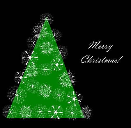 Original Christmas tree with snowflake decoration. Christmas card design