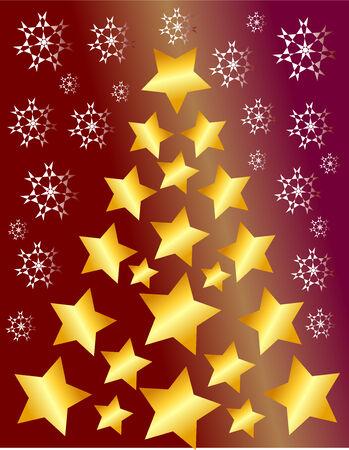 Christmas tree made of golden stars illustration  background Vector