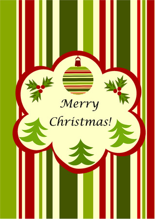 Christmas striped greeting card - green and red with copy space Vector