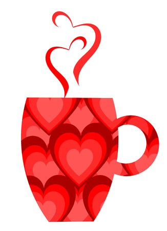 Red heart patterned valentine mug.   illustration