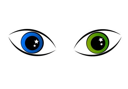 ojo de gato: Dos ojos misteriosos - verdes y azules Vectores