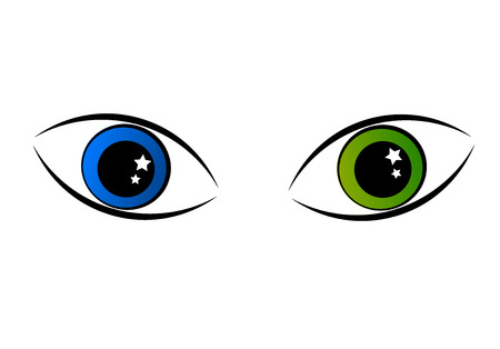 green eyes: Two mysterious eyes - green and blue