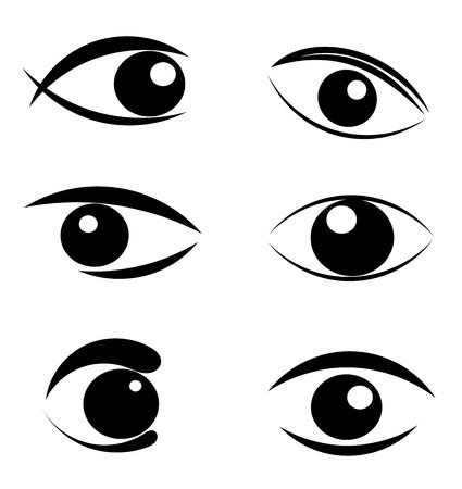 frau nach oben schauen: Satz von vielen symbolische schwarze Auge Embleme - Abbildung