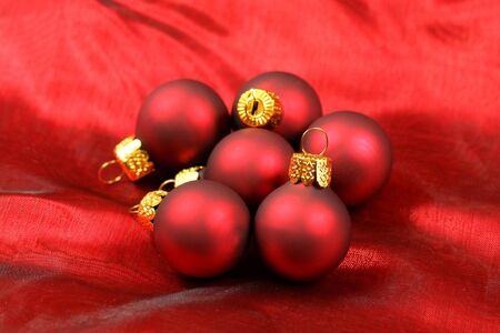 Closeup of red glass baubles group Stock Photo - 8379377
