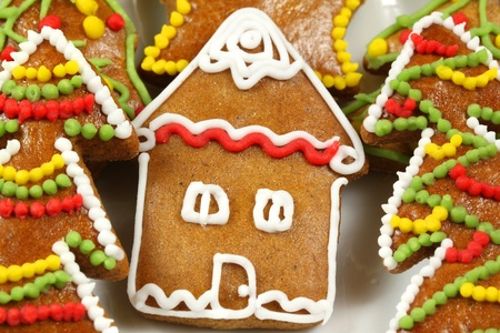 Christmas gingerbread house and colorful decorated Christmas trees Stock Photo - 8379437
