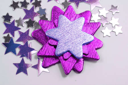 Christmas purple and silver stars ornaments photo