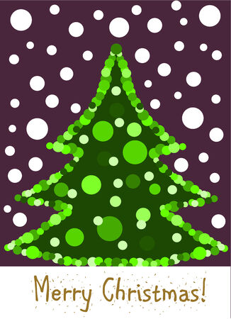 paper ball: Christmas card with wonderful Christmas tree. Copy space with greetings