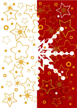 Christmas background full of golden stars and snowflakes Vector