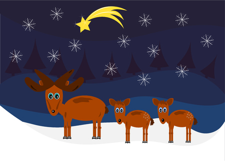 Funny Moose family  Christmas card Vector
