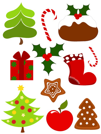 Christmas collection of icons.   illustration Vector