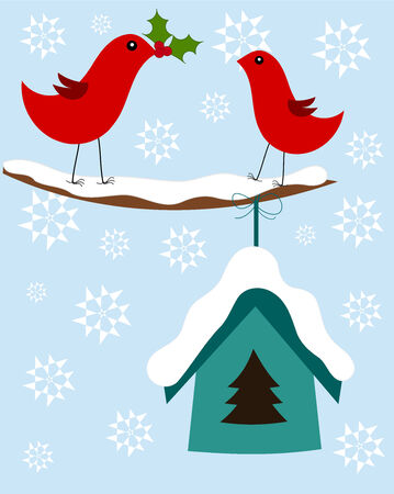 Christmas winter illustration with two cute birds Stock Vector - 8379515