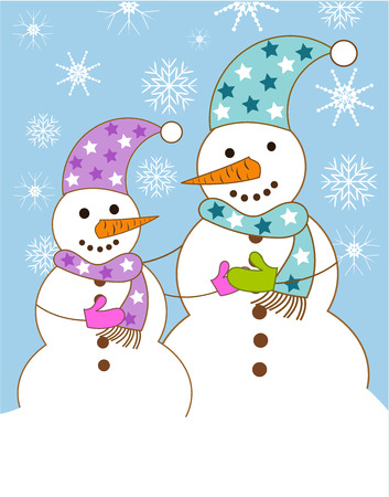 Two snowmen big and small wishing each other. Vector illustration Vector