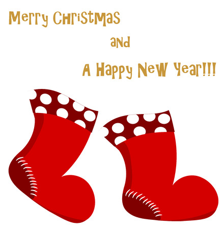 Christmas is coming. Christmas and New Year greeting card with red Santa boots going. Vector