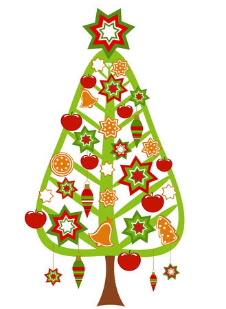 Christmas tree with colorful ornaments, apples and gingerbread cookies Stock Vector - 8418157