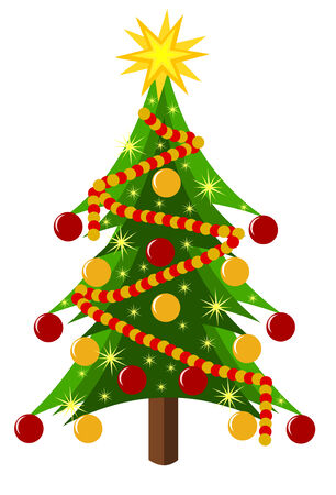 Decorated Christmas tree isolated over white. Vector illustration Vector