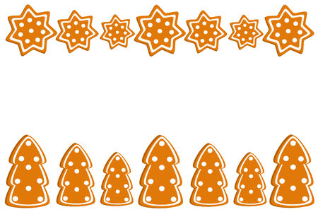 Christmas gingerbread cookies border. Vector illustration Stock Vector - 8418155
