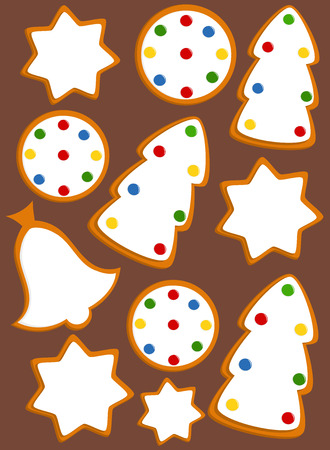Decorated gingerbread cookies background . Vector Vector