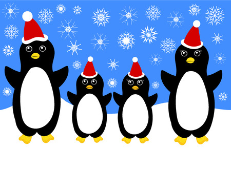 Christmas in cute penguin family Vector