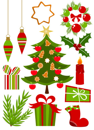 Christmas icons ans symbols collection in red and green colors. Vector illustration Vector