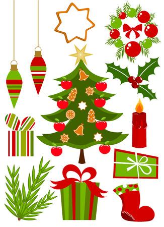 botas de navidad: Colecci�n de s�mbolos del ans de iconos de Navidad en colores rojos y verdes. Ilustraci�n vectorial