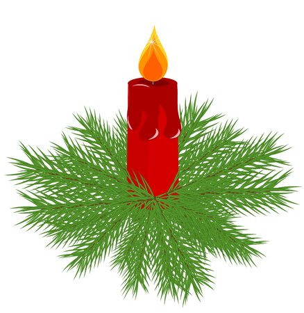 advent wreath: Christmas vector fir wreath with red advent candle in