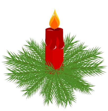 adventskranz: Weihnachtskranz Vektor Fir mit red Advent Candle in