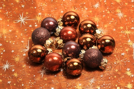 Brown glossy christmas baubles group Stock Photo - 8418190